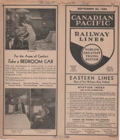 Image for CANADIAN PACIFICE RAILWAY LINES;  Eastern Lines (East of Fort William-Port Arthur)  Schedule, Sprt. 30, 1934